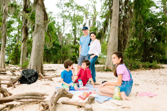 beach cleanup with family