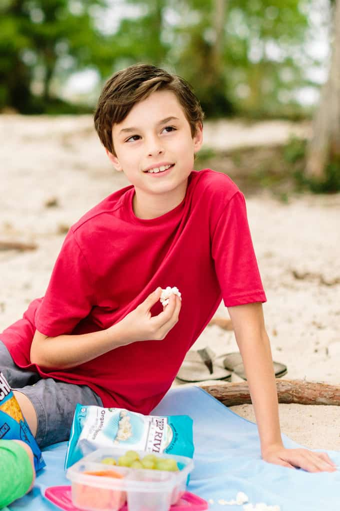 beach cleanup snack time