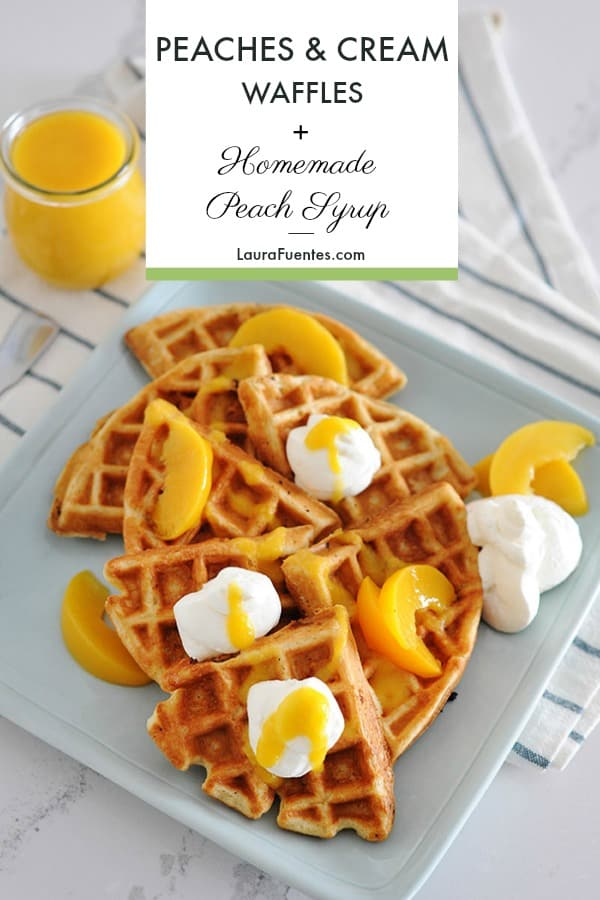 Peaches and Cream Waffles with an Easy Homemade Peach Syrup that will have you brunch'n every weekend. This is the perfect brunch recipe everyone will love.