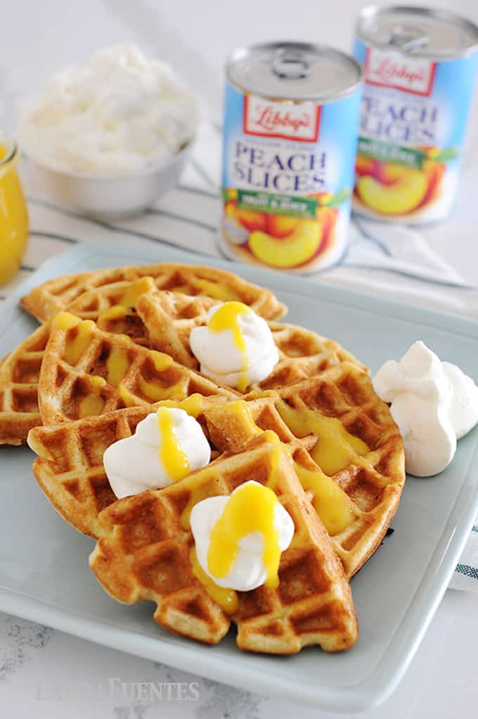 peaches and cream waffles with peach syrup