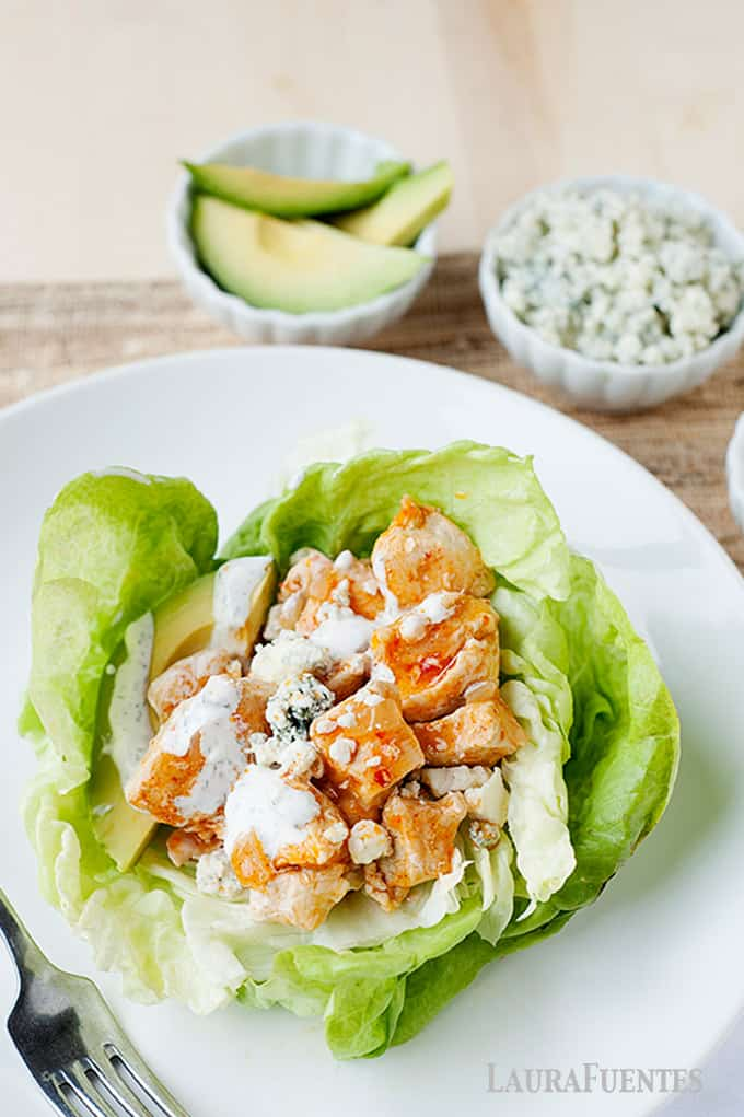 These buffalo chicken lettuce cups are a healthy meal idea that comes together super fast!
