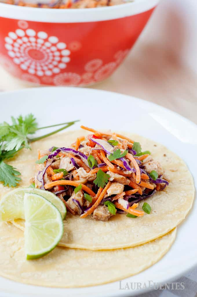 Slow Cooker Thai Chicken Tacos with Peanut Sauce