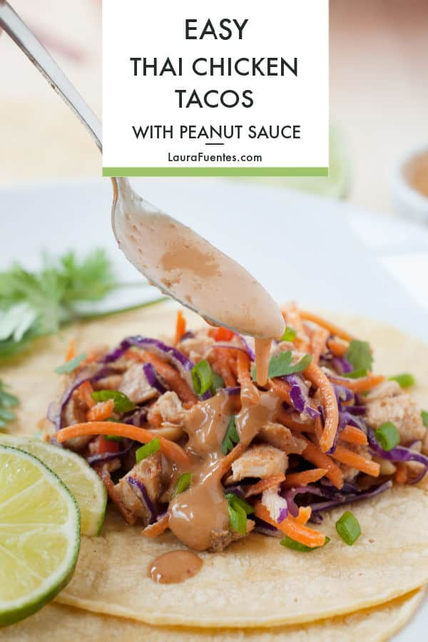 These Slow Cooker Thai Chicken Tacos with Peanut Sauce are your next favorite taco night recipe! Slow cooked chicken in Thai sauce tossed with super fresh, crunchy veggies, and drizzled with a homemade Peanut Sauce, oh my! It's the perfect combination of tangy, sweet, salty, all wrapped in a warm tortilla. #tacorecipes #tacotuesday