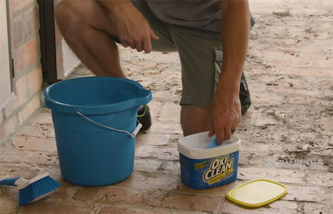 OxiClean helping to clean up my outdoor kitchen
