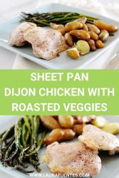 Image: pan of baked chicken with asparagus and potatoes