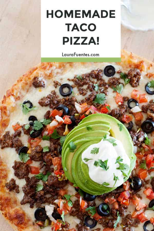 Everything you love about a taco on pizza! This homemade taco pizza recipe comes together in 5 minutes.