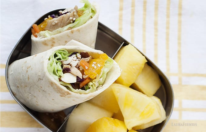 healthy asian chicken wrap with pineapple