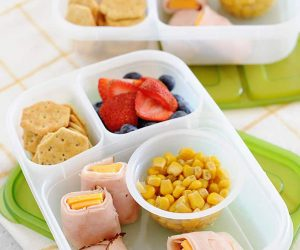 Easy Bento School Lunches: Ham + Cheese Roll-up + Veggies
