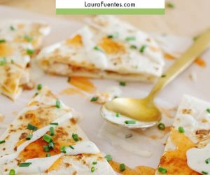 Image: sliced quesadillas with Ranch and Buffalo sauce.