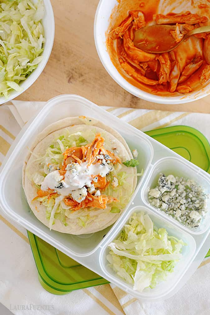 slow cooker buffalo chicken taco lunchbox