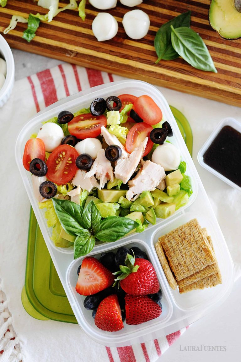 Chicken Caprese Salad with mozzerela, fruit, chicken, tomatoes and crackers