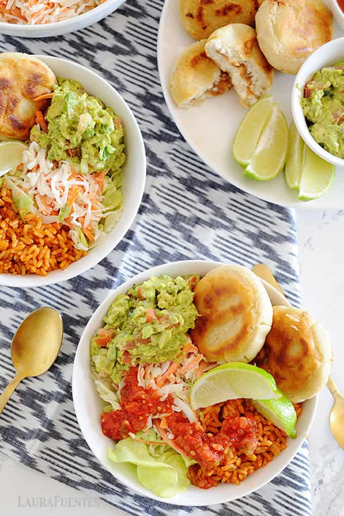 healthy pupusas and curtido bowls