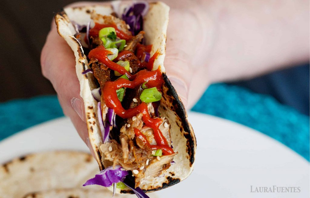 Asian thai rib pork tacos with slaw