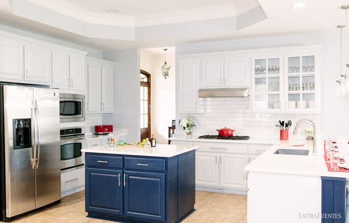 Grey Cabinets And Navy Island Kitchen Update Before After Laura Fuentes