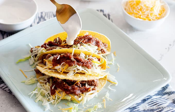 beef and cheese hard shell tacos