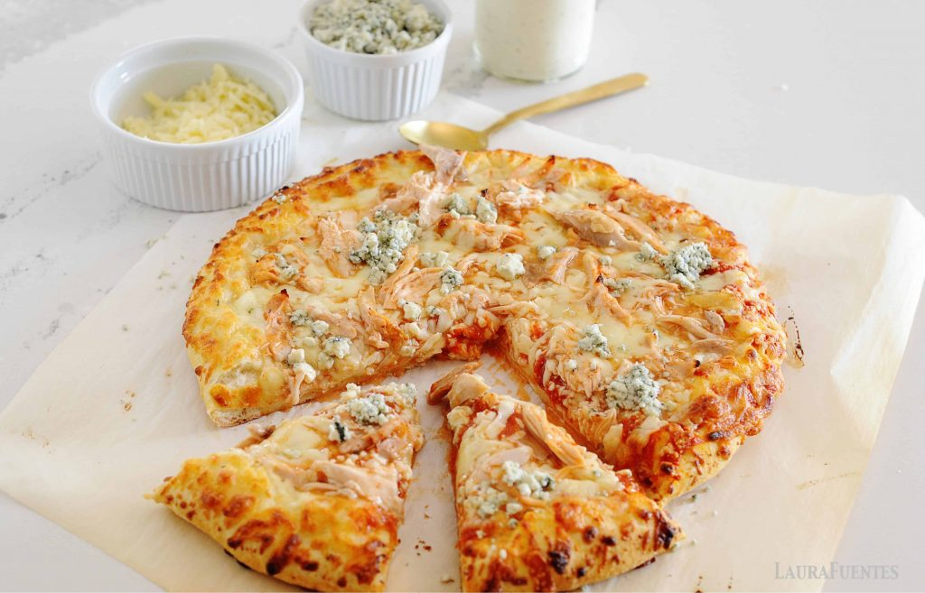 loaded buffalo chicken pizza