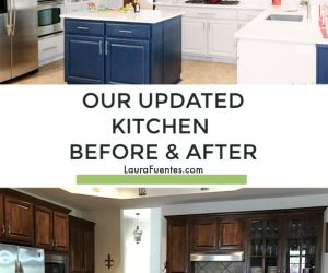 Grey cabinets and subway tile kitchen update