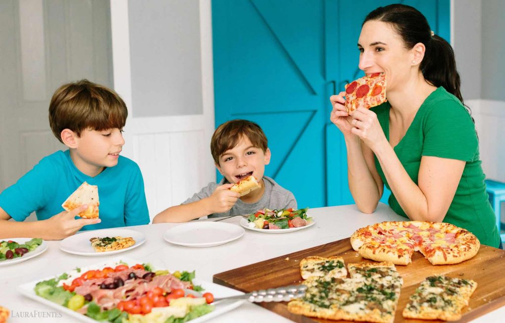 family pizza night with anitpasto salad and gluten free pizza