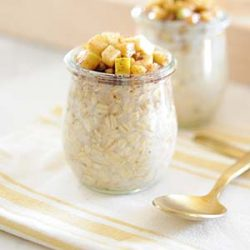 Image: Jar of overnight oats topped with diced and cooked apples