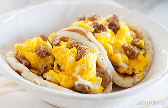 breakfast sausage and egg pancake tacos