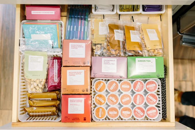 organized coffee drawer