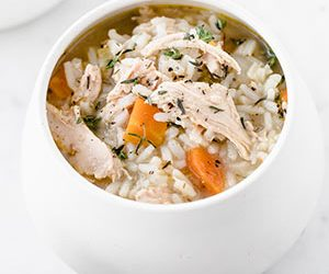 Image: bowl of chicken and rice soup
