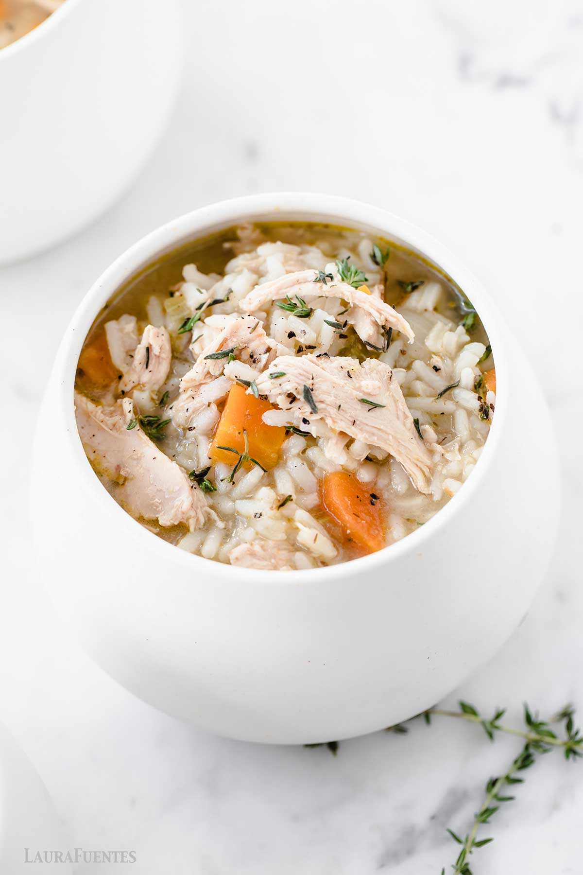 bowl of chicken and rice soup