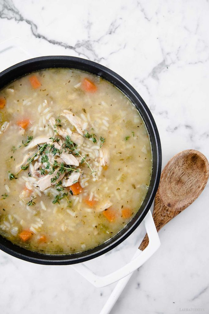large pot of chicken and rice soup