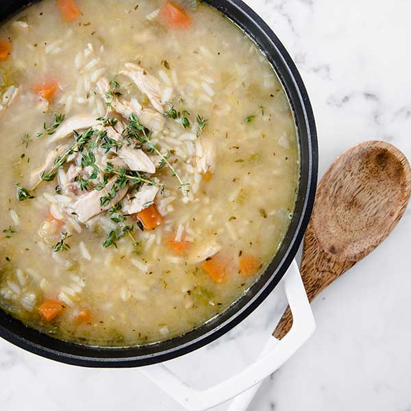 chicken and rice soup in a pot