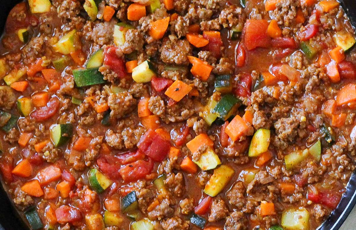 closeup of slow cooker paleo chili