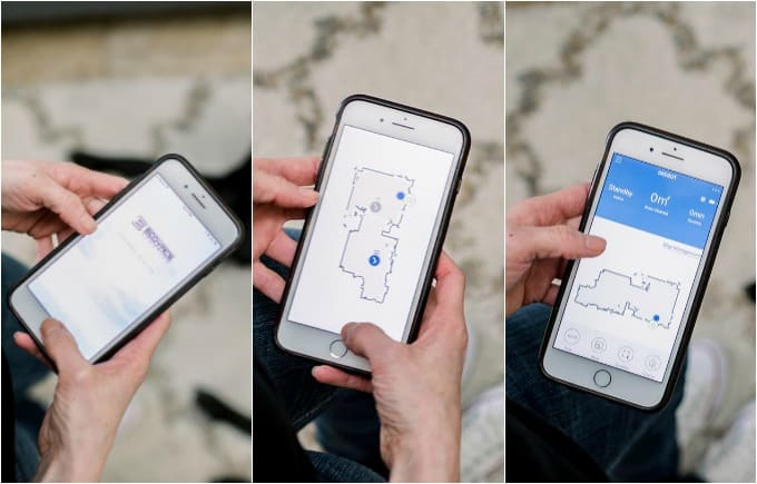 image: three side by side images of someone using a phone to map their home.