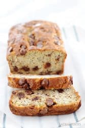 chocolate chip banana bread sliced