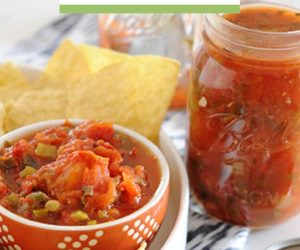 red jar of salsa with chips