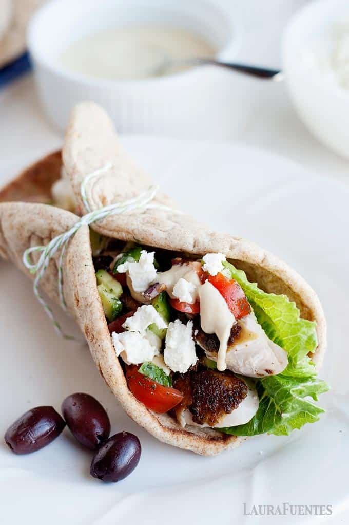 chicken in a greek wrap