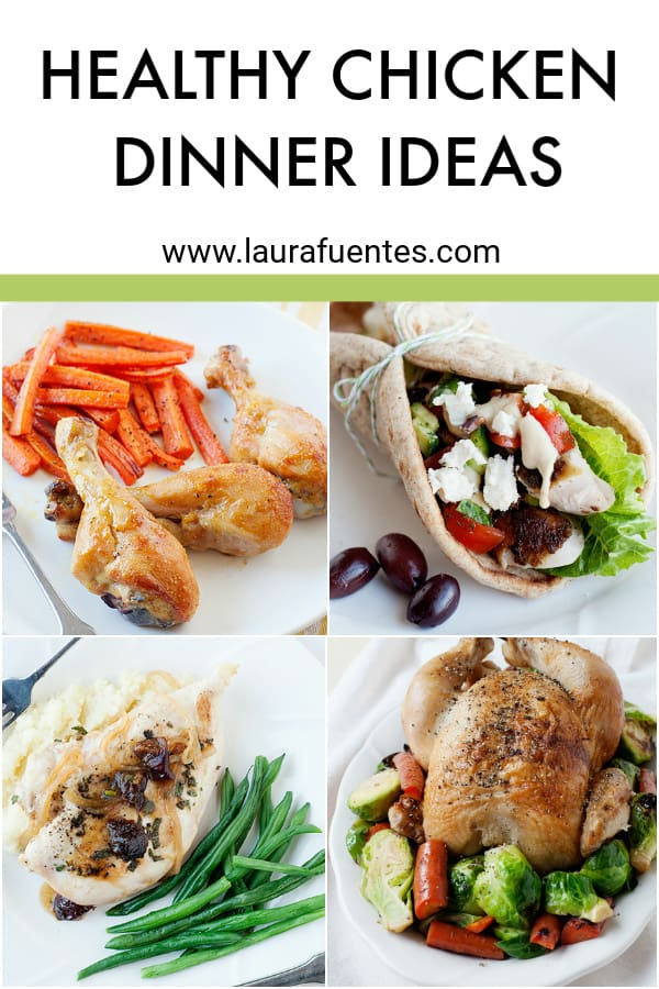 image collage of 4 healthy chicken dinner ideas