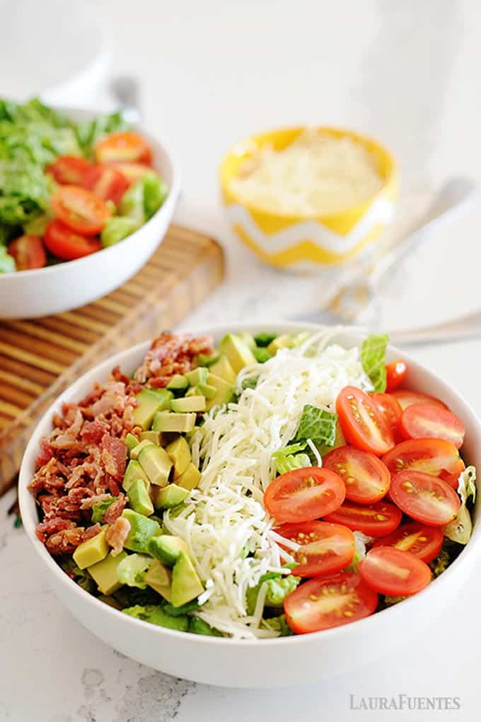 bacon, avocado, cheese and tomato salad