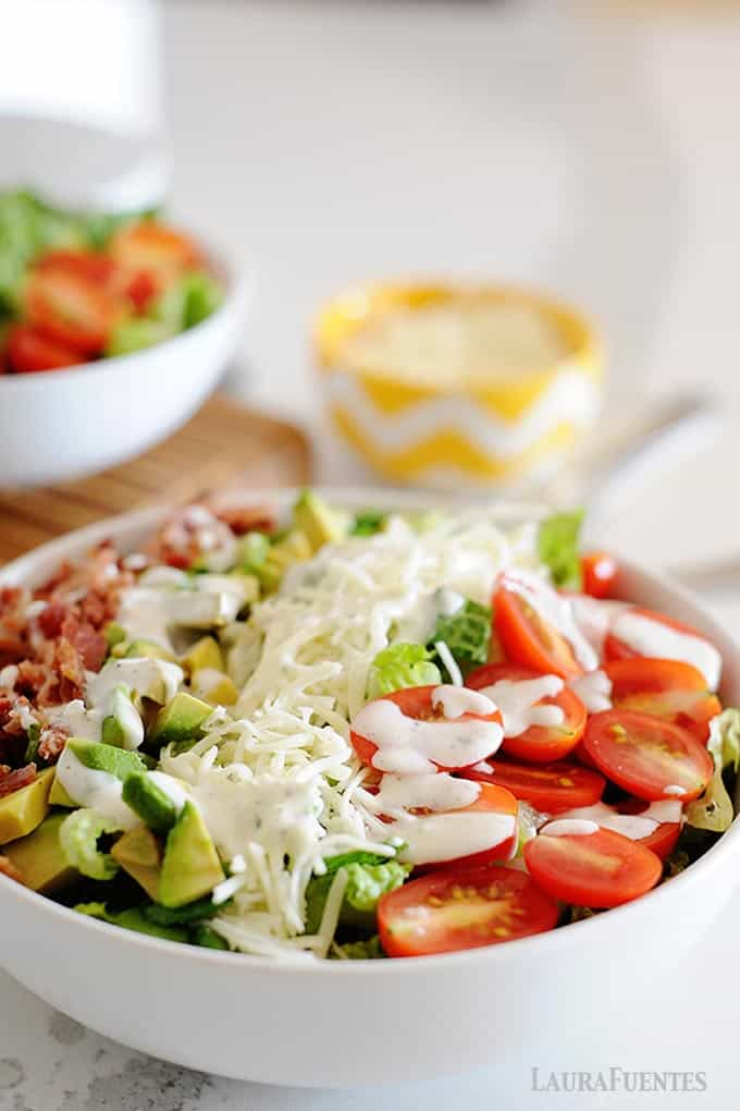 image: blt salad in a white bowl