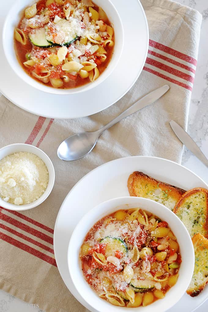 bowls of minestrone soup