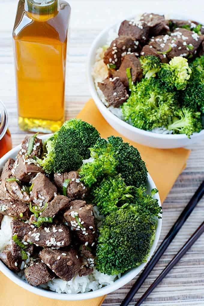 beef and broccoli bowls with rice