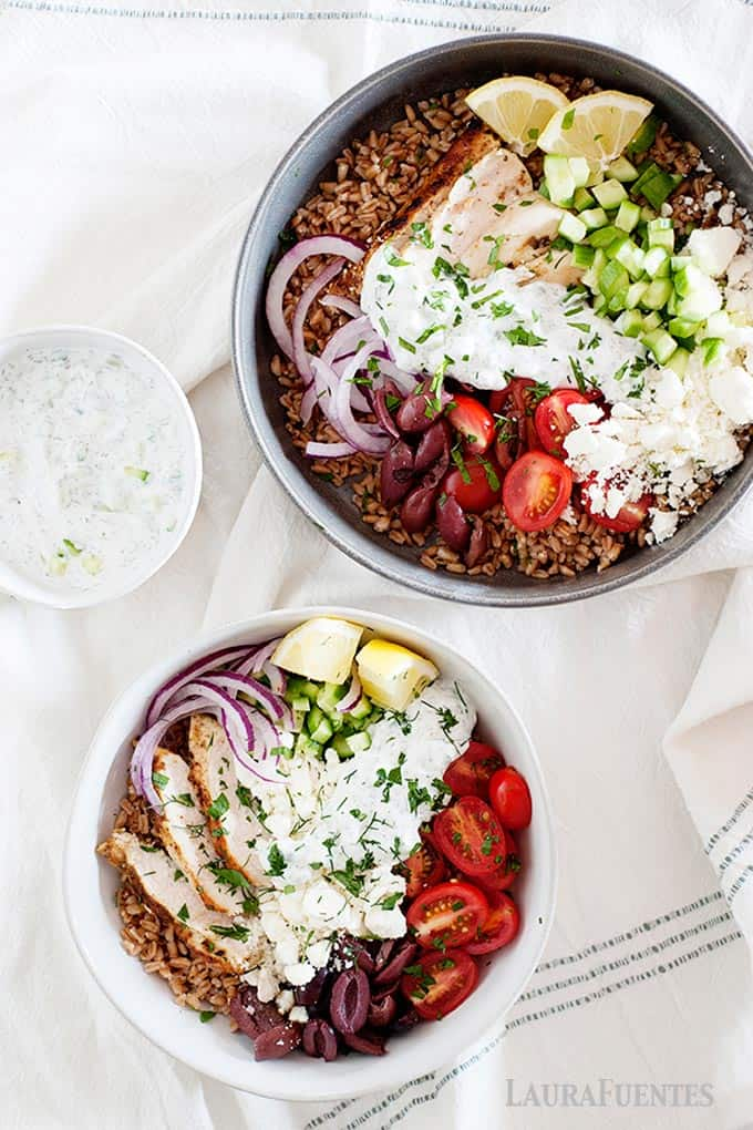 farro bowls cooking in skillet and in a bowl