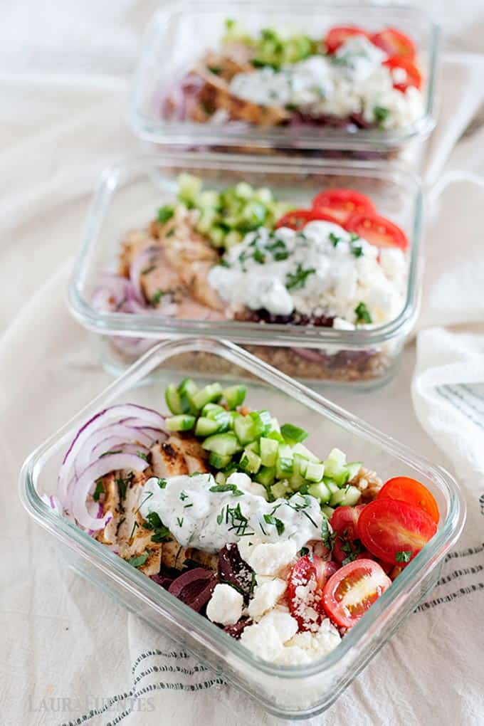 chicken farro bowls prepped for lunch in glass containers