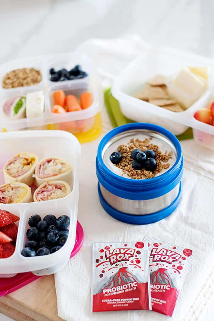 lunches for school set out in lunch boxes