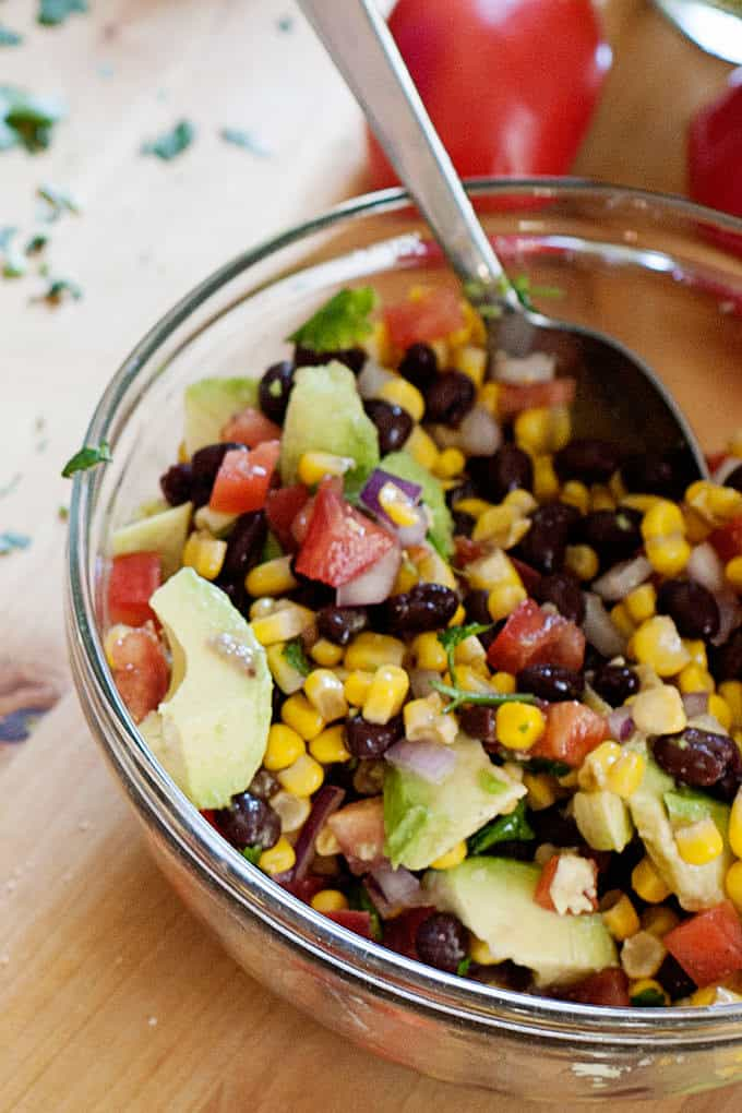 large bowl of corn and avocado salsa
