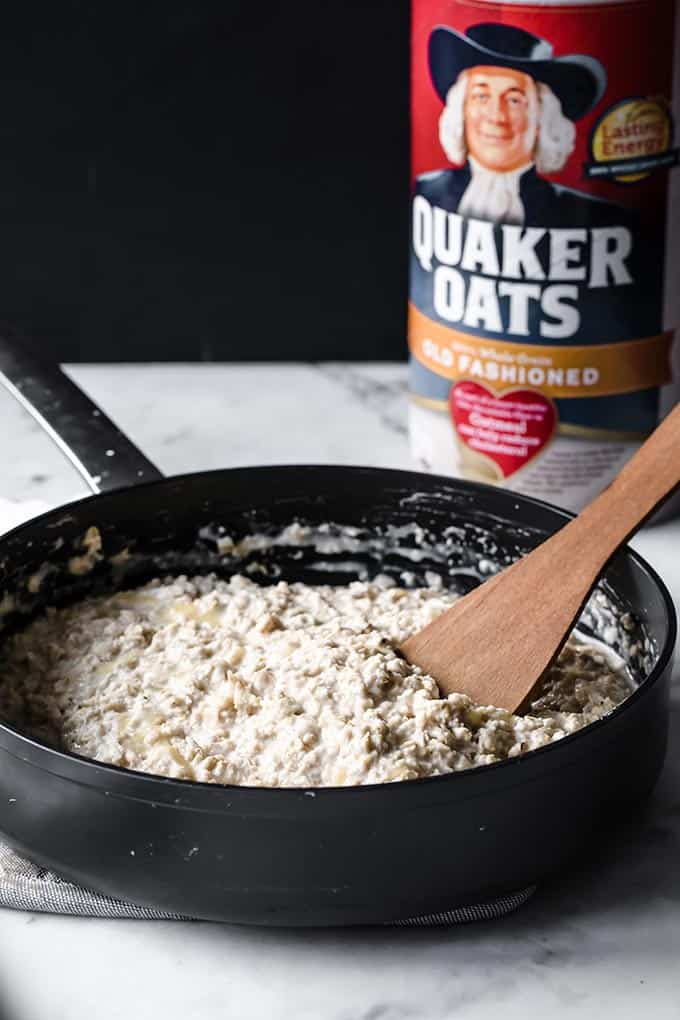 oatmeal cooking in a pan
