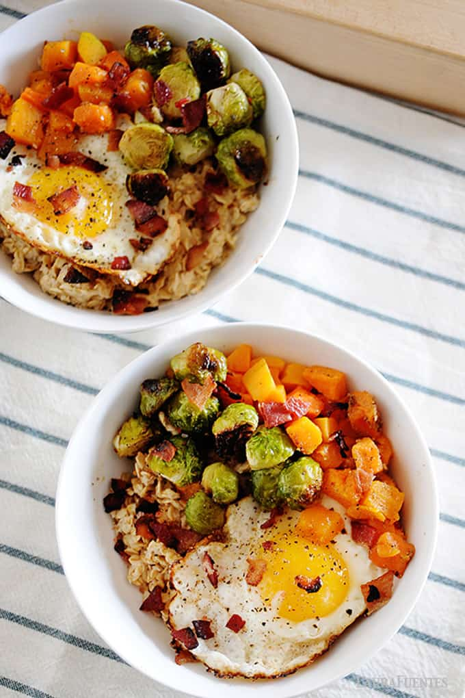 image: vegetables, oats and a fried egg in a bowl