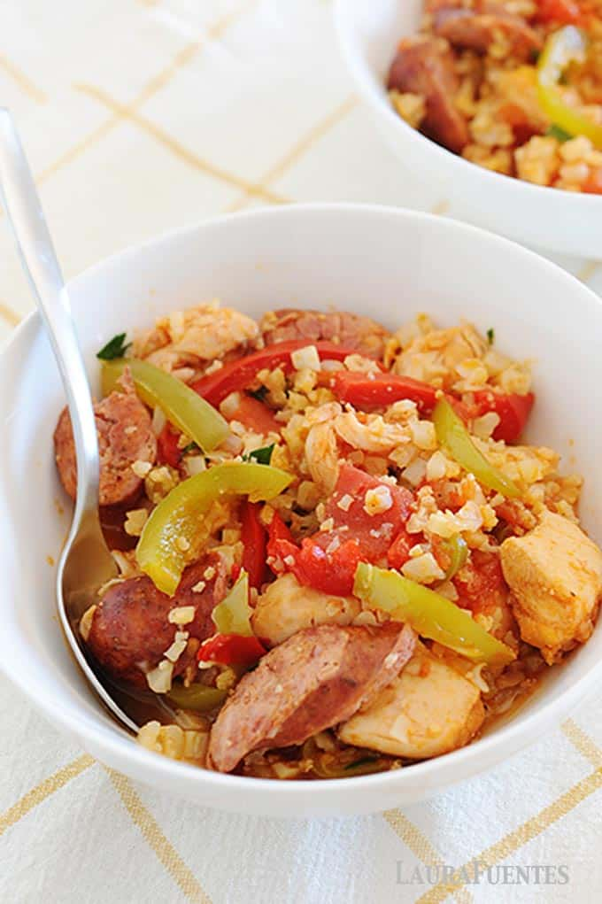 image: white bowl of healthy jambalaya