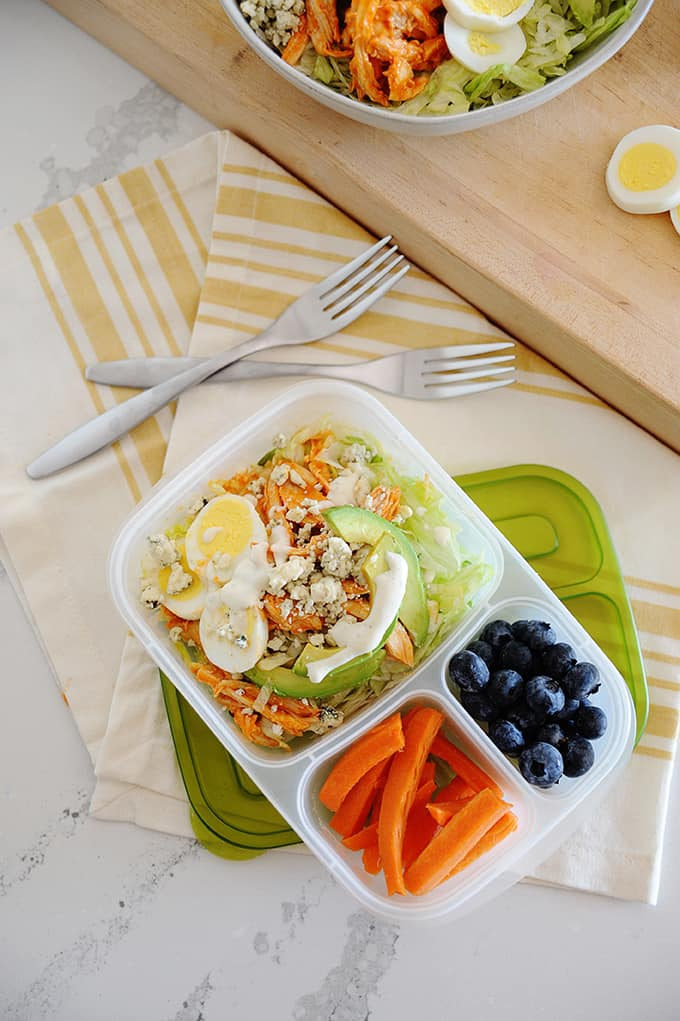 image: lunch container filled with chicken salad, blueberries and carrot sticks