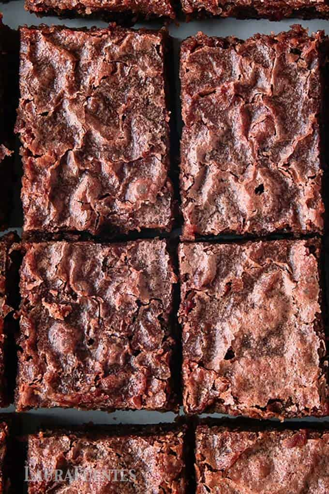 image: tray of large, square cut brownies