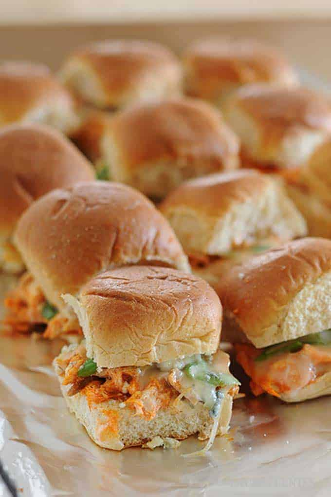 image: tray of buffalo chicken sliders fresh from the oven