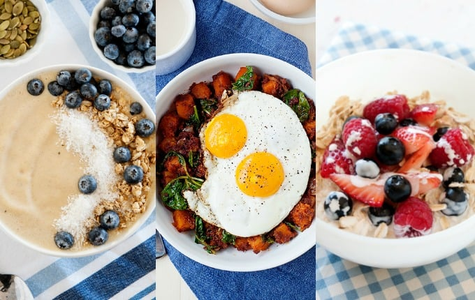 image: three side by side photos of clean breakfast options